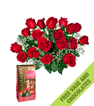 18 Red Roses FREE Vase & Chocolate Bag-18 Red Roses FREE Vase & Chocolate Bag