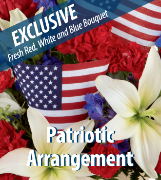 Patriotic Bouquet with Vase and USA Flag