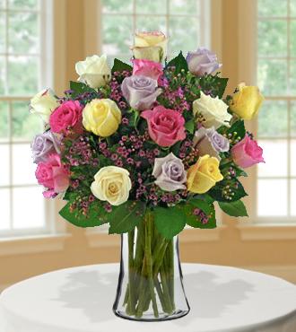 18 Pastel Multi-Color Long-Stem Roses