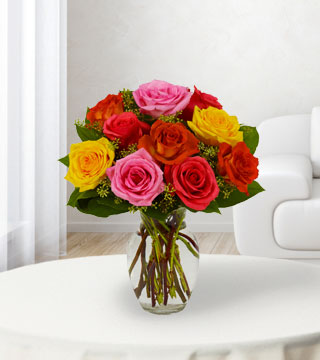 12 Assorted Bright Roses