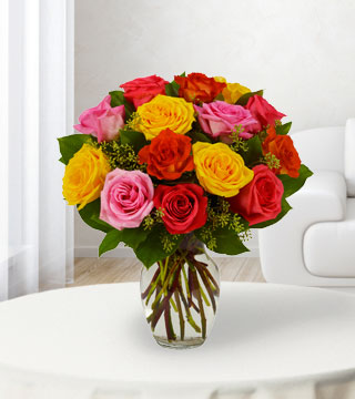 18 Assorted Bright Roses