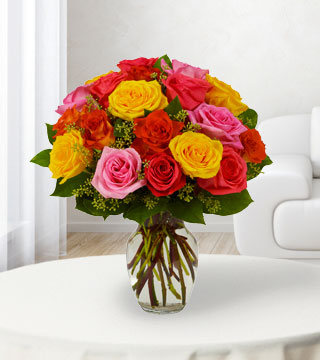 24 Assorted Bright Roses