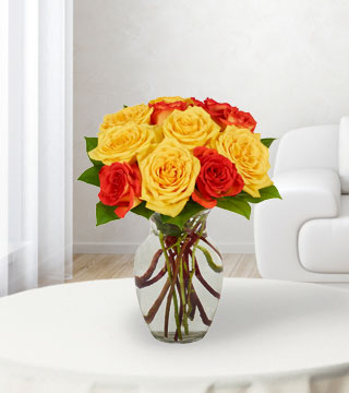 12 Yellow & Orange Rose Bouquet