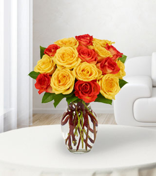 18 Yellow & Orange Rose Bouquet