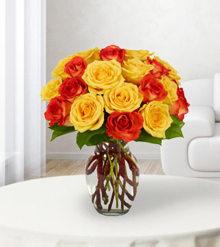 24 Yellow & Orange Rose Bouquet