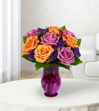 8 Purple & Orange Rose Bouquet