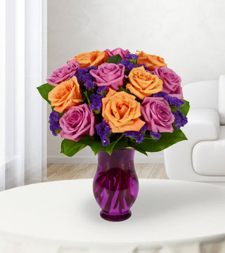 12 Purple & Orange Rose Bouquet