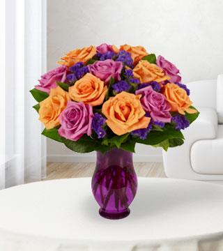 16 Purple & Orange Rose Bouquet