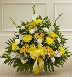 Yellow & White Sympathy Floor Basket