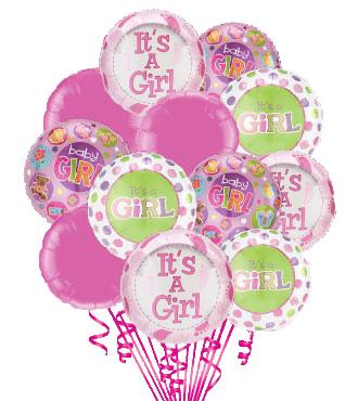 12 Baby Girl Balloons