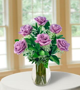 6 Lavender Long-Stem Roses