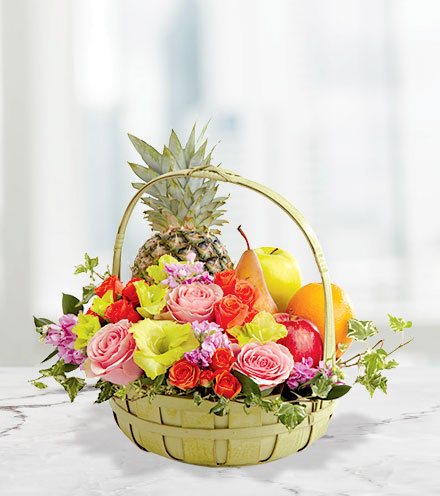 FTD® Rest in Peace™ Fruit & Flowers Basket