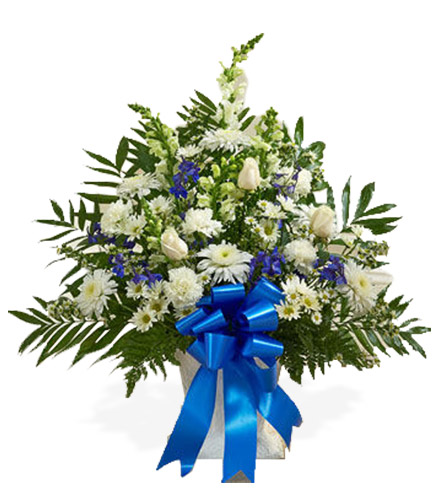 Blue & White Sympathy Floor Basket - Greater