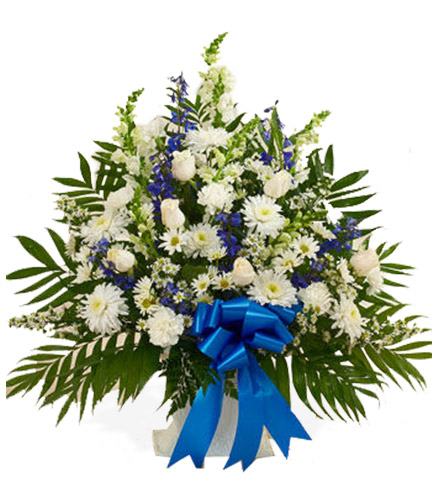 Blue & White Sympathy Floor Basket - Greatest