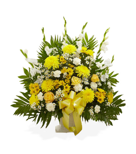 Yellow & White Sympathy Floor Basket - Greater