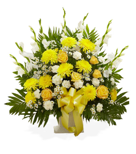 Yellow & White Sympathy Floor Basket - Greatest