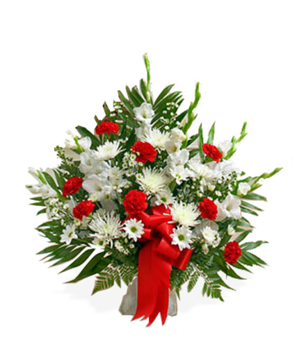 Red and White Sympathy Floor Basket - Great