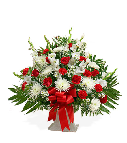 Red and White Sympathy Floor Basket - Greater