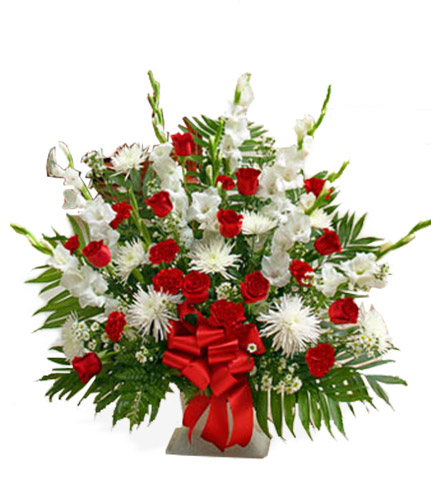 Red and White Sympathy Floor Basket - Greatest