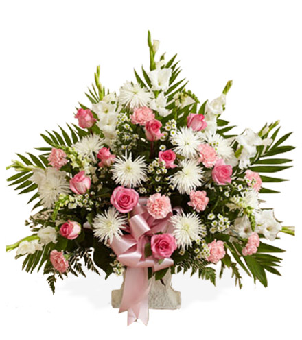 Pink and White Sympathy Floor Basket - Greatest