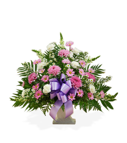 Lavender and White Sympathy Floor Basket - Great
