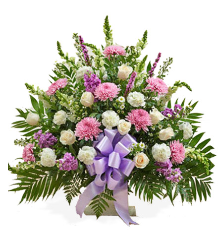 Lavender and White Sympathy Floor Basket - Greatest