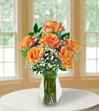 6 Elegant Orange Long-Stem Roses