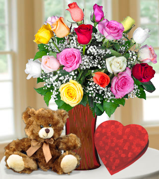 18 Multi Color Roses with Heart Shaped Chocolate & Brown Bear