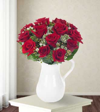 Classic Rose Bouquet in a Pitcher