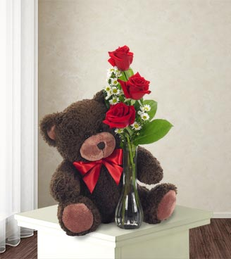Classic Bud Vase Roses with Teddy Bear