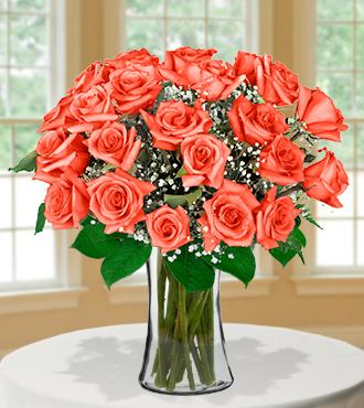 24 Orange Long-Stem Roses