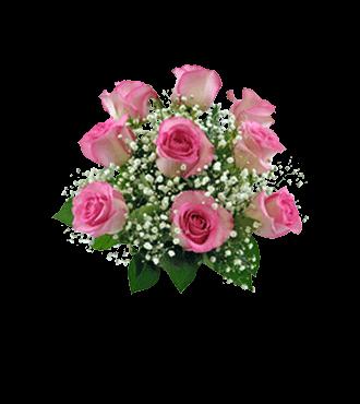 9 Pink Long-Stem Roses