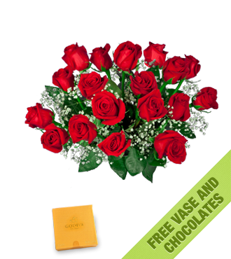 18 Red Roses FREE Vase & Chocolate Box