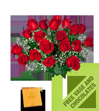 18 Red Roses FREE Vase & Chocolate Box