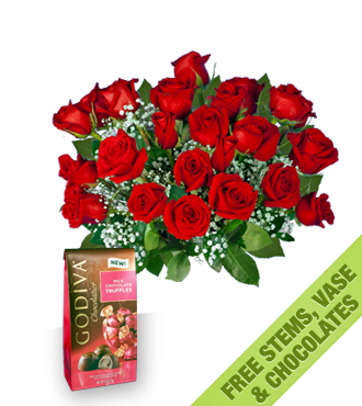 18 with 6 FREE Red Roses, Vase and Chocolates