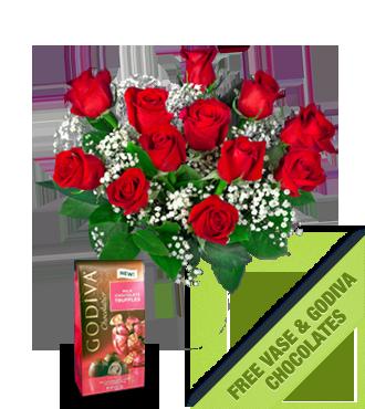 12 Red Roses FREE Vase & Chocolate Bag