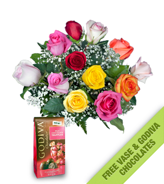 12 Multi-Color Roses FREE Vase & Chocolate Bag