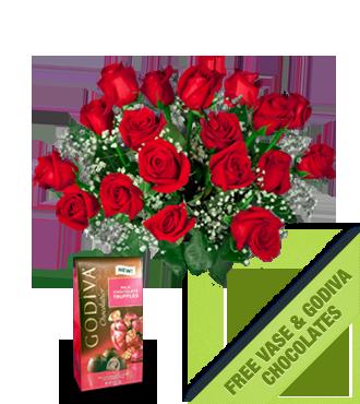 18 Red Roses FREE Vase & Chocolate Bag