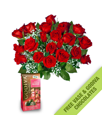 24 Red Roses FREE Vase & Chocolate Bag