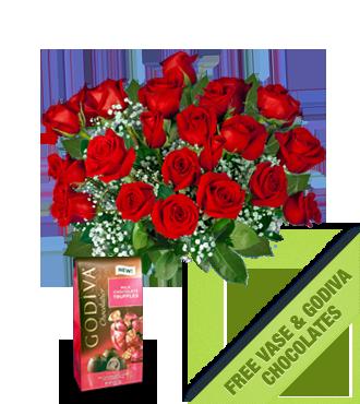 24 Red Roses FREE Vase & Chocolate Bag