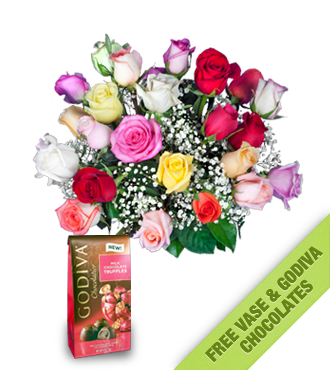 24 Multi-Color Roses FREE Vase & Chocolate Bag