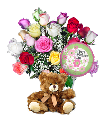 12 Multi-Color Roses FREE Vase &
