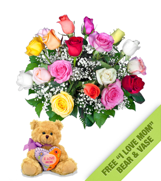 18 Multi-Color Roses FREE Vase &