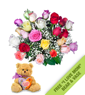 24 Multi-Color Roses FREE Vase &