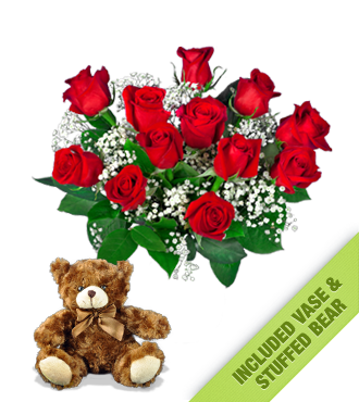 12 Red Roses INCLUDED Vase & Brown Bear