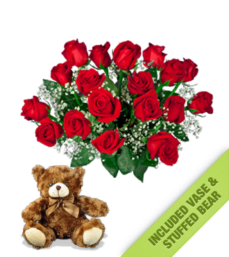 18 Red Roses INCLUDED Vase & Brown Bear