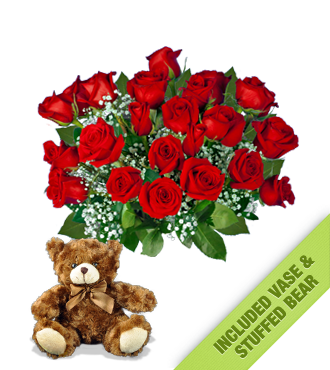 24 Red Roses INCLUDED Vase & Brown Bear