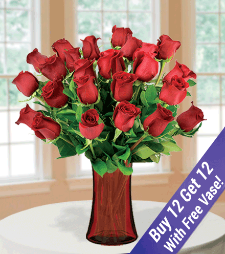 Buy 12 Get 12 Red Roses with Vase