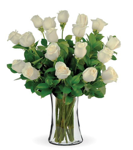 18 White Long-Stem Roses