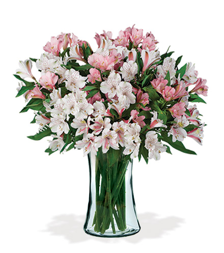 Pink & White Peruvian Lilies Bouquet - Greatest